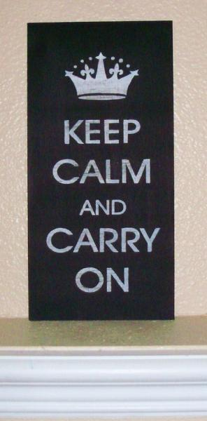 Keep Calm and Carry On Wood Sign England British Royal WW2 Crown United Kingdom