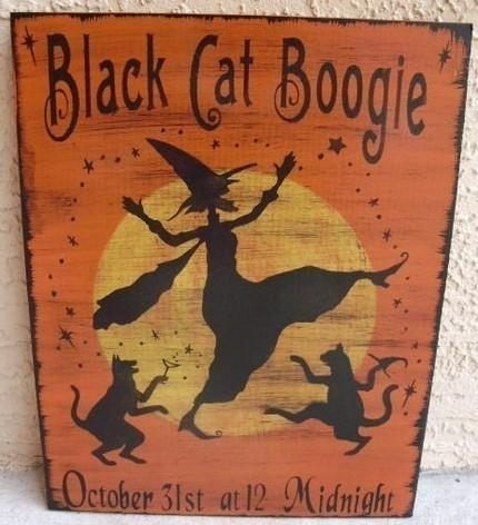 Cats Black Cat Boogie Primitive Halloween Sign Decorations Witches Witchcraft