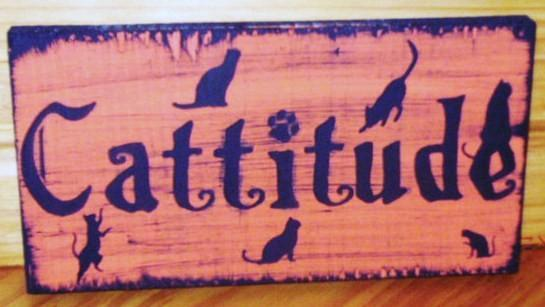 CATS CATTITUDE Primitive Wooden Sign Plaque Witches Black Cats Felines Familiars
