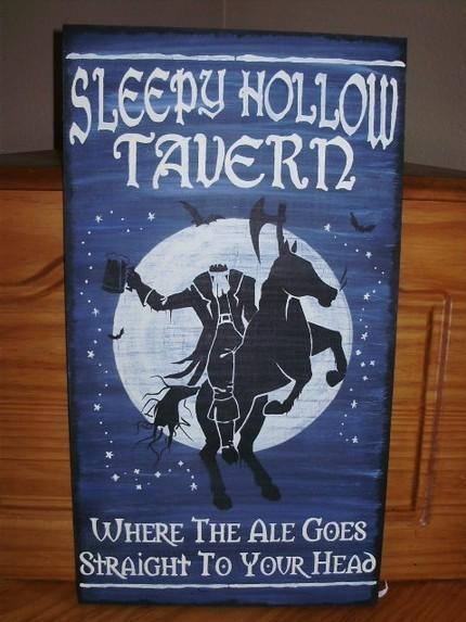 Sleepy Hollow Tavern Large Halloween Sign Plaque New York Headless Horseman