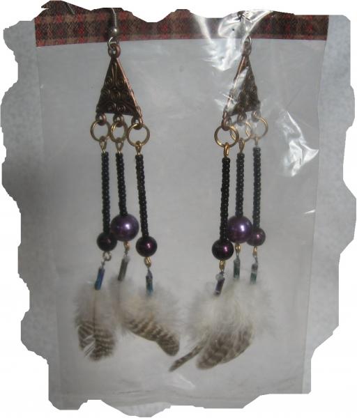 New Black, Purple, Gold, Silver, Feather Earrings