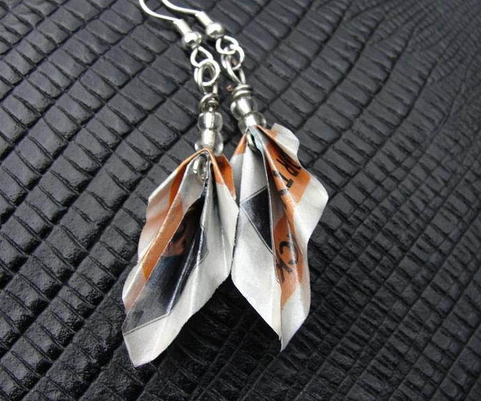 Origami Leaf Junkmail Jewels Earrings in Blue and Orange