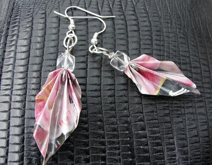 Pink Origami Leaf Junkmail Jewels Earrings