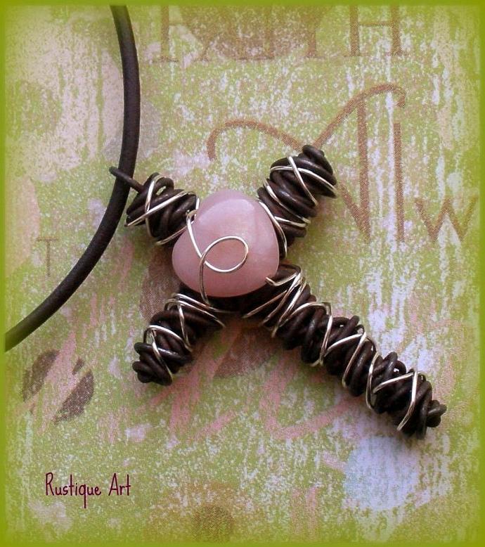 Wire Cross Pendant Necklace w. Pink Opal Heart