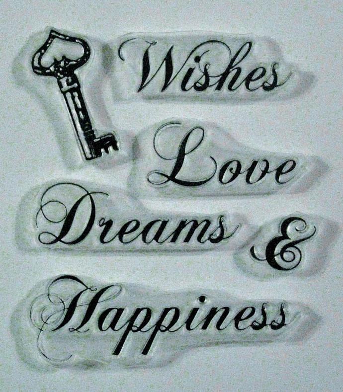 Robin's Wishes clear stamps Dreams love Happiness & vintage key