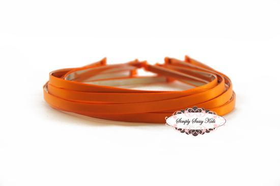 10 TANGERINE Satin Lined Metal Headbands - NEW & IMPROVED Add Hair Flowers,