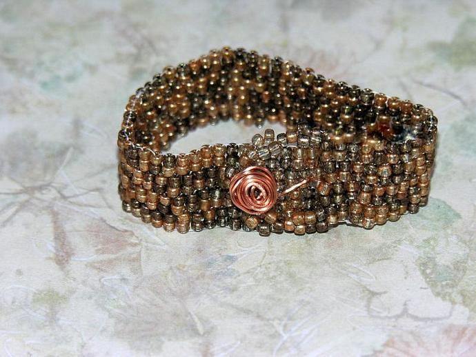 Handmade Copper/Brown Mix Beadwork Bracelet