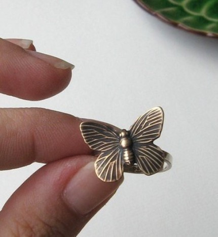 Victorian Style Brass Butterfly and Recycled Sterling Ring - Made to Order