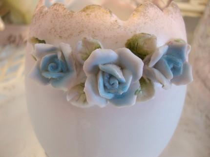 Vintage Porcelain Bisque Shabby Pink Egg Vase