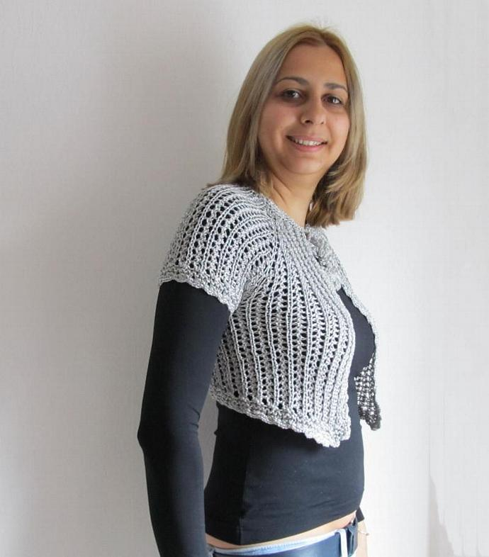 48bd40f737fe9 Pure Silver Grey Hand Knit Mini Cardigan