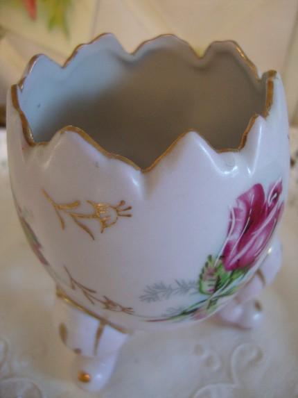 Vintage Handpainted Pink Porcelain Egg Shaped Vase