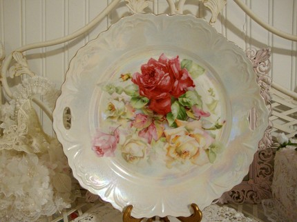 Lovely Antique Plate with Shabby Pink Roses