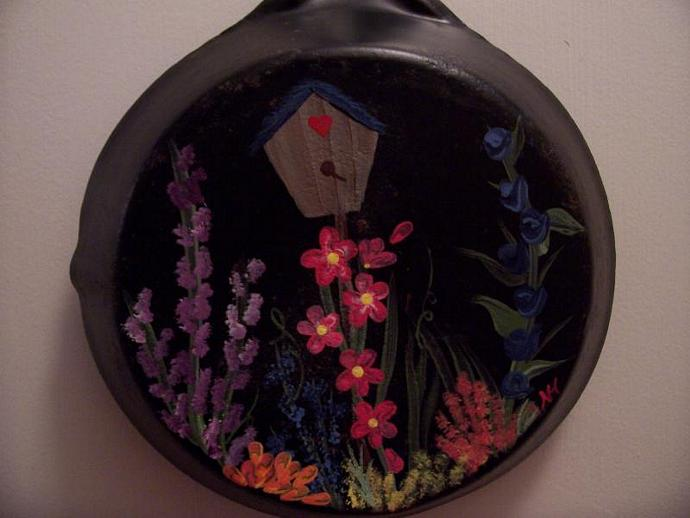 Birdhouse and Flowers on a  Vintage Pan