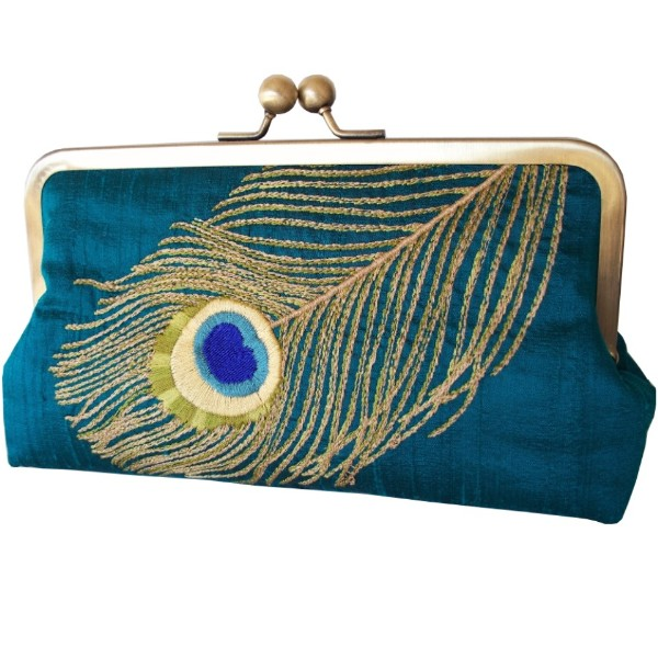 Peacock Feather Embroidered Silk Clutch Deep Teal