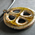 Oval Carved Cross Pendant - Glassy Yellow