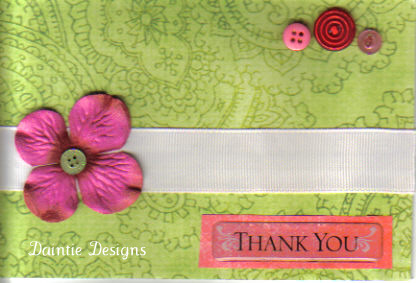 Green with Pink Flower Thank You Card