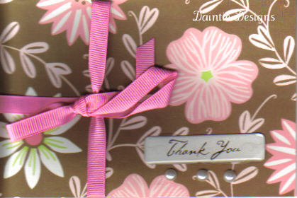 Pink and Brown Thank You Card