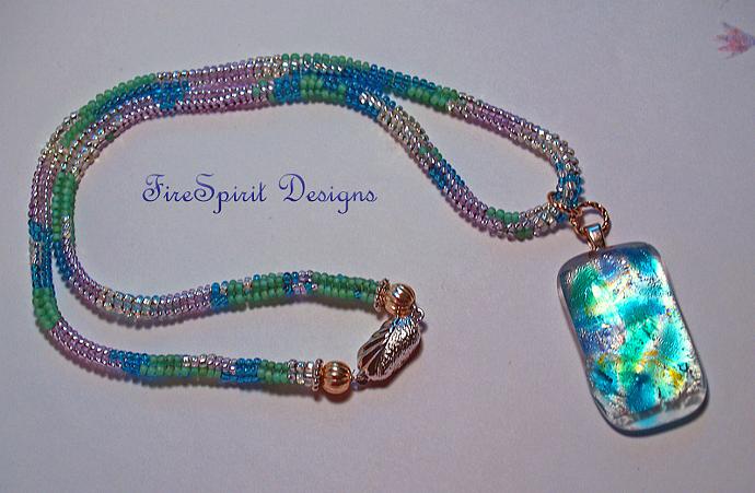 """Disco Baby- 18"""" OOAK beadwoven necklace"""