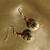 Folksy Flower on Brown Glass Earrings 9040