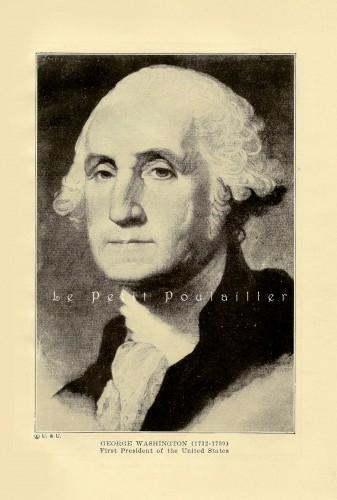 George Washington and Seashells 1913 Antique FE Wright Lithographs