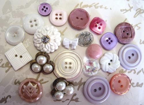 Girlie Girl Vintage and Antique Buttons for Sewing and Crafting, Packet of 22