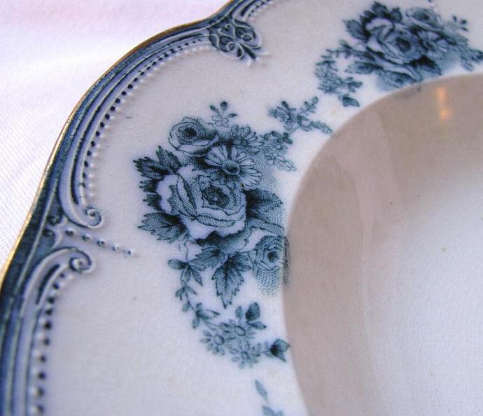 Flow Blue Roses 1897 Victorian Ridgway Pottery Antique Large Gilt Rimmed Soup