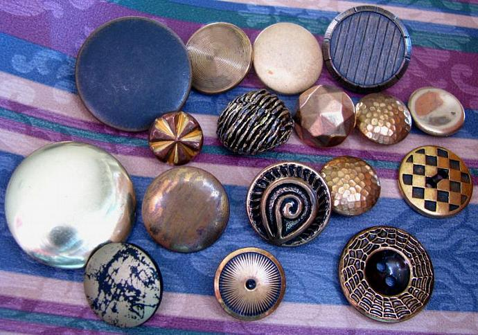 Buttons and Geometry Vintage and Antique Packet of 17 Metal Buttons