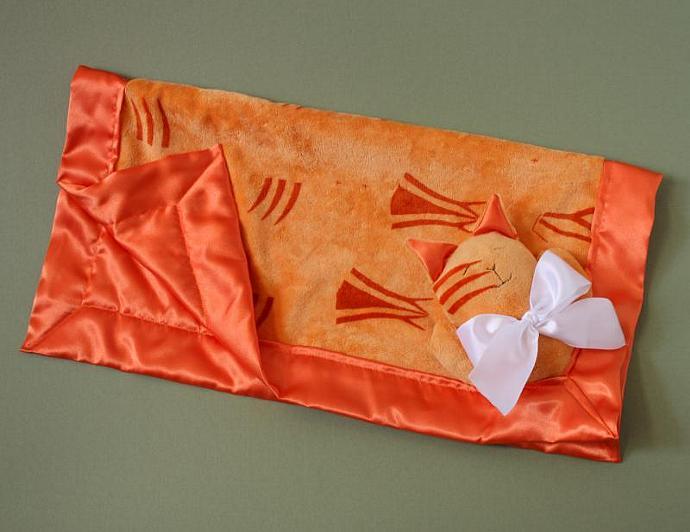 Orange Minky Tiger Cat Lovey Blanket, Satin, Baby Blanket, Stuffed Animal, Baby