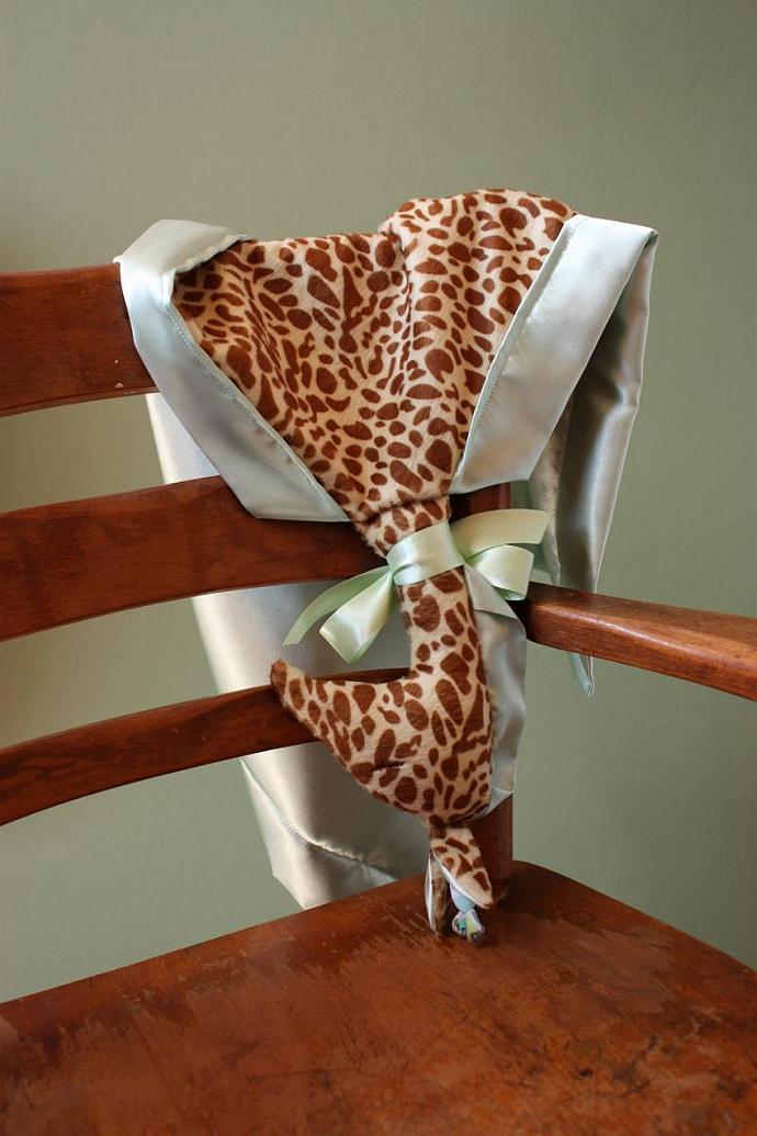 Lovey Silky Giraffe Lovey Blanket, Satin, Baby Blanket, Stuffed Animal, Baby Toy