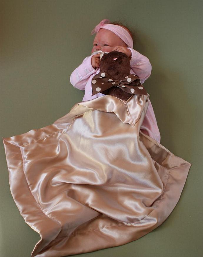 Brown Minky Bunny Rabbit Lovey Blanket, Satin, Baby Blanket, Stuffed Animal,