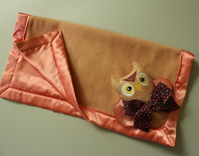 Owl Lovey Blanket, Satin, Baby Blanket, Stuffed Animal, Baby Toy - Customize