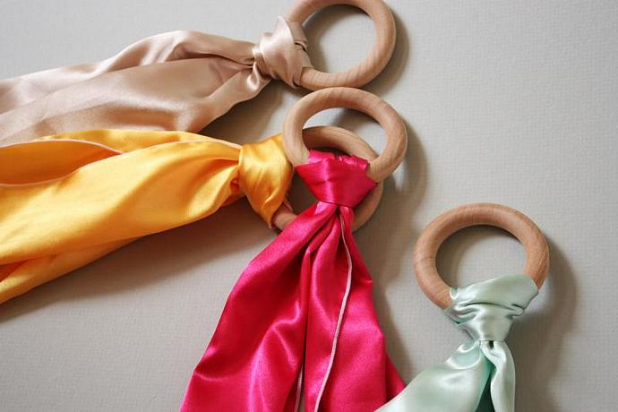 Satin Streamer with All Natural Teething Ring - You pick Color