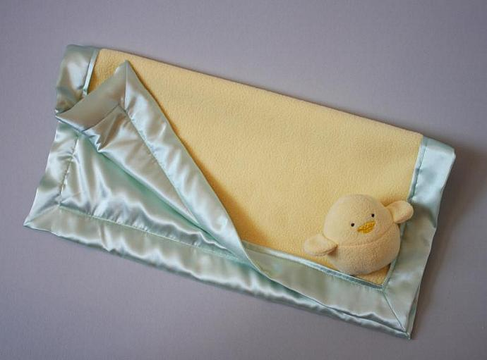 Yellow Bird or Chick Lovey Blanket, Satin, Baby Blanket, Stuffed Animal, Baby