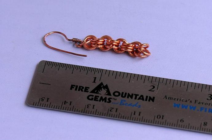 Handmade Copper Chain Maille Bracelet & Earrings Set