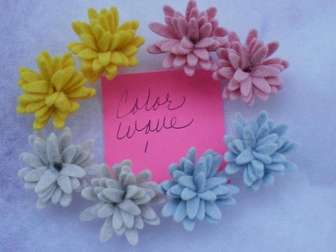Wool Felt Daisies - 8 - Color Wave 1