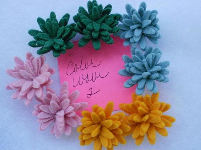 Wool Felt Daisies - 8 - Color Wave 2