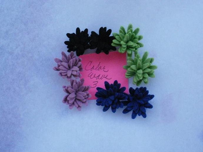 Wool Felt Daisies - 8 - Color Wave 3