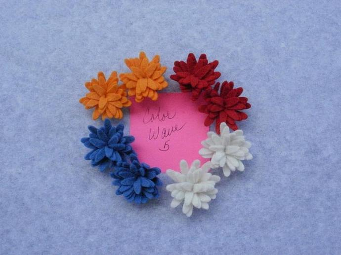 Wool Felt Daisies - 8 - Color Wave 5