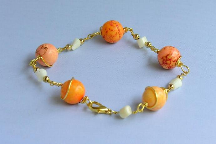"Handmade Anklet - ""Creamsicle"" Dyed Magnesite and White Coral"