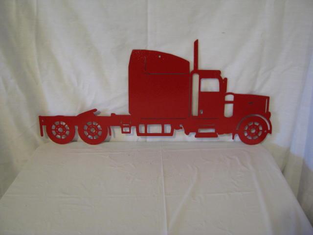 Semi Truck Metal Wall Yard Art  Silhouette