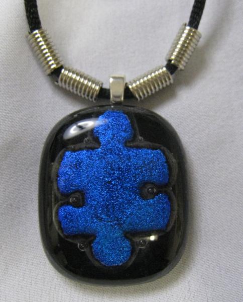 Puzzle Piece Dichroic Glass Pendant