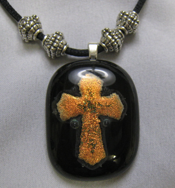 Cross Dichroic Glass Pendant