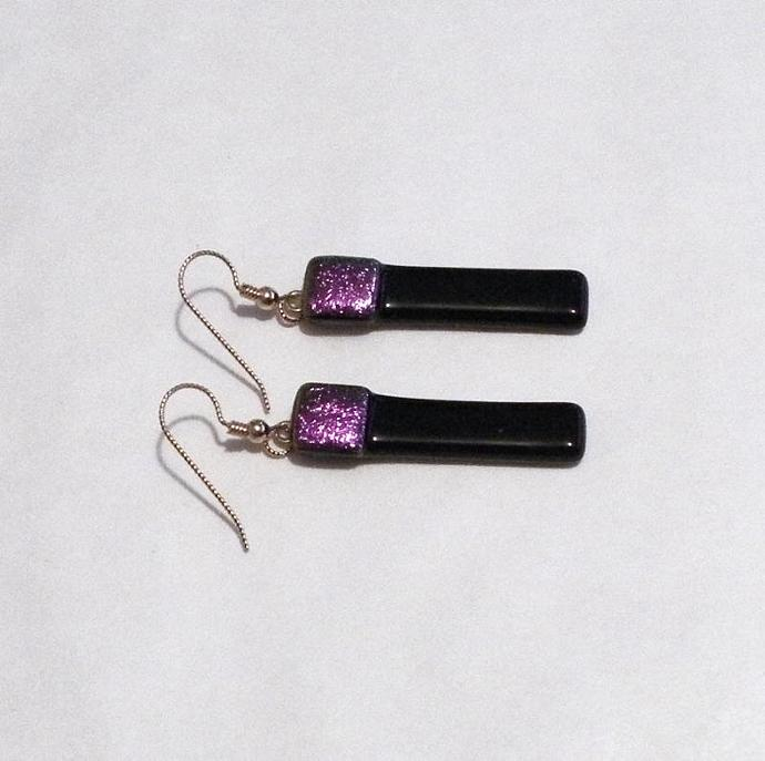 Earrings, Black Art Glass Dangles with Sparkly Purple Dichroic