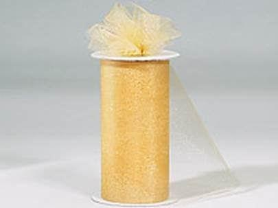 6 inch x 300 ft NYLON TULLE ROLL - NEW GOLD