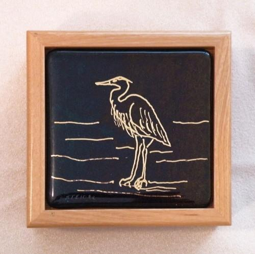 Golden Heron on Black Iridescent Glass Tile Inserted into an Alderwood Box