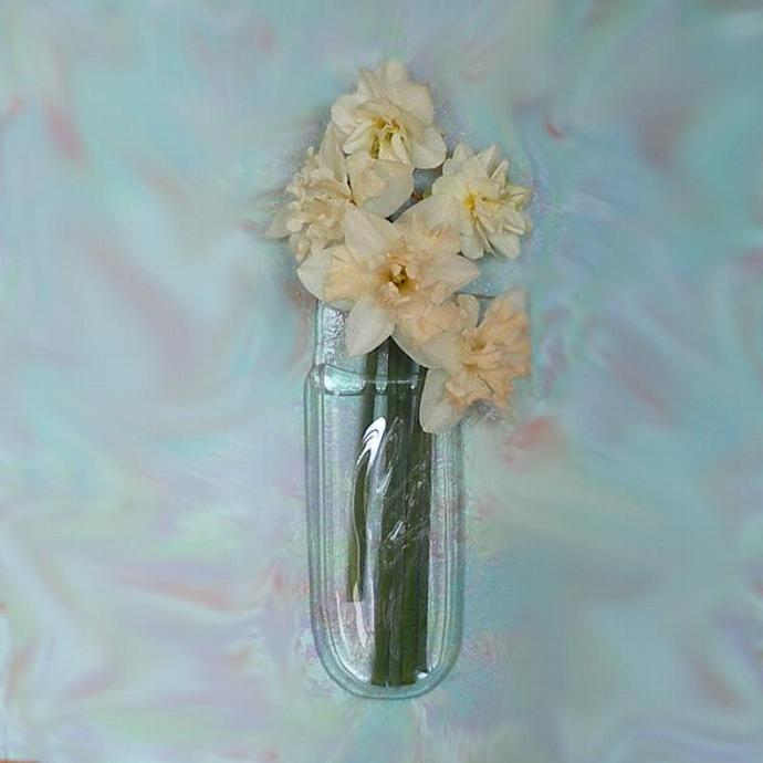 Handmade Recycled Glass Wall Pocket, Bud Vase