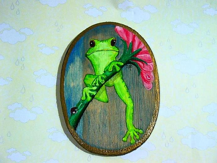 """Just Hanging Around"" Painting of a happy froggy"
