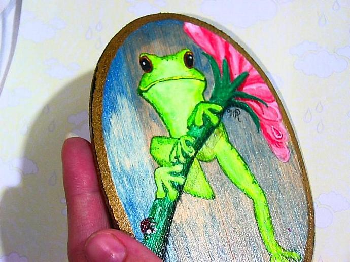 """""""Just Hanging Around"""" Painting of a happy froggy"""