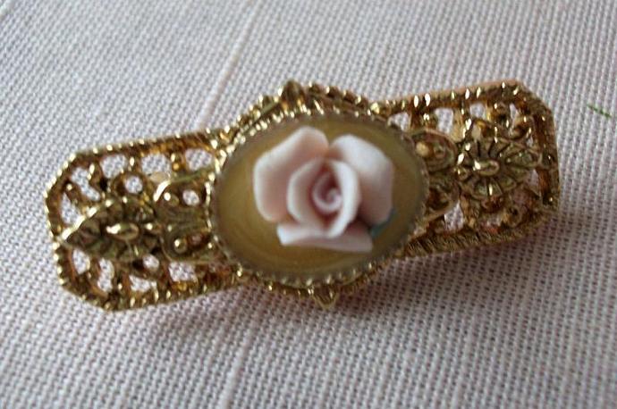 Vintage Rose Porcelain & Filigree Brooch Lapel Pin