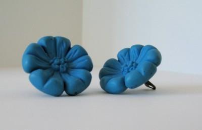 Vintage Blue Flower Fashion Clip On Earrings